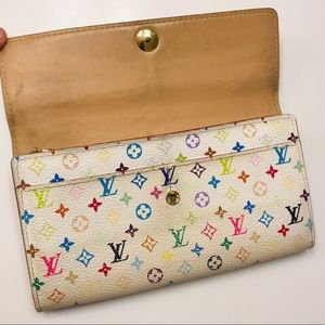 LOUIS VUITTON White Multicolor Sarah Wallet